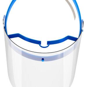 Viziera de protectie faciala, RoShield Standard, culoare albastru, fabricata in Romania, reutilizabila, dezinfectabila, confortabila si antialergica, creata pentru prevenirea contactului cu particule de stranut sau respiratie, precum si cu sange sau lichide organice si chimice. Cu o greutate de doar 65 de grame si posibilitatea de reglare de la 45 la 66 cm aceasta poate fi purtata pentru perioade indelungate si la orice varsta. Viziera cu protectie 100%, special creata pentru prevenirea contactului facial cu substante precum sange, lichide organice sau chimice si cu particulele expirate in urma respiratiei sau stranutului.
