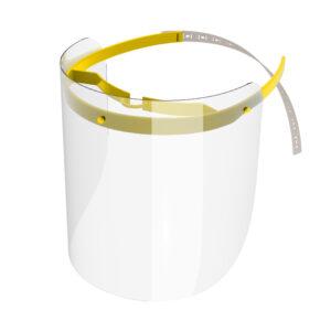 Viziera de protectie faciala, RoShield Standard, culoare galben, fabricata in Romania, reutilizabila, dezinfectabila, confortabila si antialergica, creata pentru prevenirea contactului cu particule de stranut sau respiratie, precum si cu sange sau lichide organice si chimice. Cu o greutate de doar 65 de grame si posibilitatea de reglare de la 45 la 66 cm aceasta poate fi purtata pentru perioade indelungate si la orice varsta. Viziera cu protectie 100%, special creata pentru prevenirea contactului facial cu substante precum sange, lichide organice sau chimice si cu particulele expirate in urma respiratiei sau stranutului.