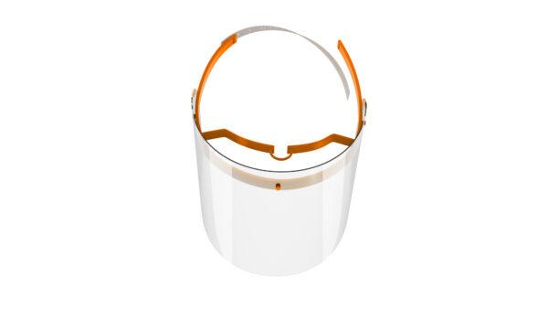 Viziera de protectie faciala, RoShield Standard, culoare portocaliu, fabricata in Romania, reutilizabila, dezinfectabila, confortabila si antialergica, creata pentru prevenirea contactului cu particule de stranut sau respiratie, precum si cu sange sau lichide organice si chimice. Cu o greutate de doar 65 de grame si posibilitatea de reglare de la 45 la 66 cm aceasta poate fi purtata pentru perioade indelungate si la orice varsta. Viziera cu protectie 100%, special creata pentru prevenirea contactului facial cu substante precum sange, lichide organice sau chimice si cu particulele expirate in urma respiratiei sau stranutului.