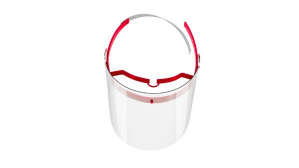 Viziera de protectie faciala, RoShield Standard, culoare rosu, fabricata in Romania, reutilizabila, dezinfectabila, confortabila si antialergica, creata pentru prevenirea contactului cu particule de stranut sau respiratie, precum si cu sange sau lichide organice si chimice. Cu o greutate de doar 65 de grame si posibilitatea de reglare de la 45 la 66 cm aceasta poate fi purtata pentru perioade indelungate si la orice varsta. Viziera cu protectie 100%, special creata pentru prevenirea contactului facial cu substante precum sange, lichide organice sau chimice si cu particulele expirate in urma respiratiei sau stranutului.