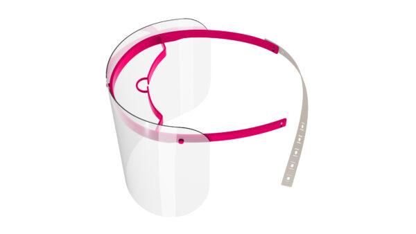 Viziera de protectie faciala, RoShield Standard, culoare roz, fabricata in Romania, reutilizabila, dezinfectabila, confortabila si antialergica, creata pentru prevenirea contactului cu particule de stranut sau respiratie, precum si cu sange sau lichide organice si chimice. Cu o greutate de doar 65 de grame si posibilitatea de reglare de la 45 la 66 cm aceasta poate fi purtata pentru perioade indelungate si la orice varsta. Viziera cu protectie 100%, special creata pentru prevenirea contactului facial cu substante precum sange, lichide organice sau chimice si cu particulele expirate in urma respiratiei sau stranutului.