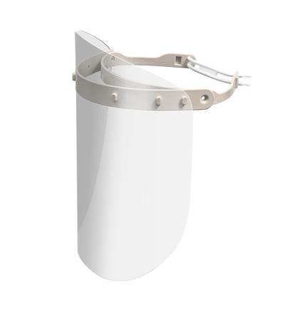Viziera PREMIUM de protectie faciala, culoare alb, reutilizabila, dezinfectabila, confortabila si antialergica, creata pentru prevenirea contactului cu particule de stranut sau respiratie, precum si cu sange sau lichide organice si chimice. Cu o greutate de doar 80 de grame si posibilitatea de reglare de la 49 la 66 cm aceasta poate fi purtata pentru perioade indelungate si la orice varsta.