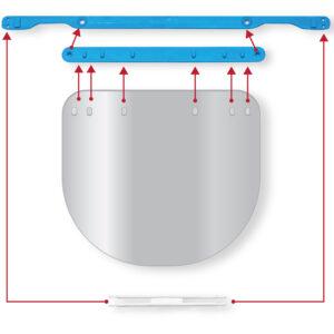 Viziera PREMIUM de protectie faciala, albastru, reutilizabila, dezinfectabila, confortabila si antialergica, creata pentru prevenirea contactului cu particule de stranut sau respiratie, precum si cu sange sau lichide organice si chimice. Cu o greutate de doar 80 de grame si posibilitatea de reglare de la 49 la 66 cm aceasta poate fi purtata pentru perioade indelungate si la orice varsta.