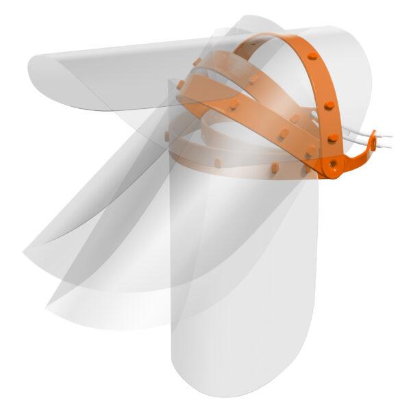 Viziera PREMIUM de protectie faciala, culoare portocaliu, reutilizabila, dezinfectabila, confortabila si antialergica, creata pentru prevenirea contactului cu particule de stranut sau respiratie, precum si cu sange sau lichide organice si chimice. Cu o greutate de doar 80 de grame si posibilitatea de reglare de la 49 la 66 cm aceasta poate fi purtata pentru perioade indelungate si la orice varsta.