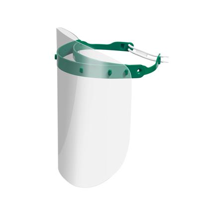 Viziera PREMIUM de protectie faciala, culoare verde, reutilizabila, dezinfectabila, confortabila si antialergica, creata pentru prevenirea contactului cu particule de stranut sau respiratie, precum si cu sange sau lichide organice si chimice. Cu o greutate de doar 80 de grame si posibilitatea de reglare de la 49 la 66 cm aceasta poate fi purtata pentru perioade indelungate si la orice varsta.